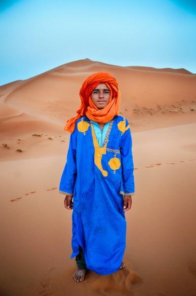 Berber nomad dune portrait, Sahara Desert, Morocco
