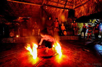 Fire dancer Palenque Preparing Chiapas Mexico