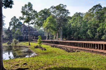 Temple entry, paved in stone, Angkor Wat, Cambodia