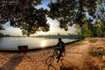 Leisurely bicycle ride, sunrise, Angkor Wat, Cambodia